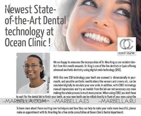 Nueva Dentista Cosmética Dra. Nina King en Ocean Clinic Marbella 2018