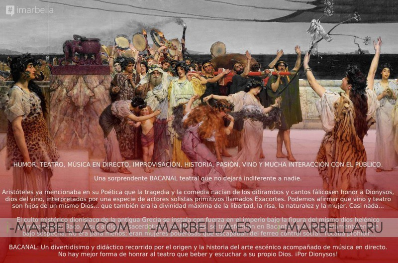 """La obra """"Bacanal"""" se presenta en el Anantara Villa Padierna Palace Benahavís Marbella Resort el sábado 6 de julio de 2019"""